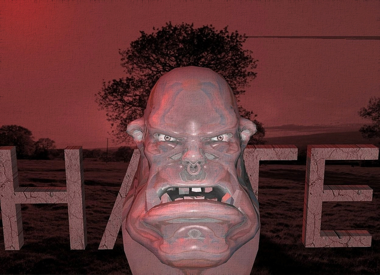 """Input text: a 100 inch tall  shiny gray orc head.a gray cloudscape backdrop.a 55 Inch tall  super red dirt """"HATE"""" is behind the orc head.sun is maroon."""
