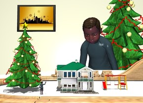 a .3 foot tall [wood] train set is on a 4.5 foot wide and 4.5 foot deep white table. a 1st .6 foot tall christmas tree is -.9 feet in front of and -.7 feet left of the train set. a .3 foot tall house is .08 foot right of the tree. the house is -.04 foot above the table. it is noon. a 1st .1 foot tall boy is right of and in front of the tree. he faces back. he is -.01 feet above the table. backdrop is window. a 2nd boy is behind the table. he faces the boy. a 2nd christmas tree is 2 feet behind and -1 feet right of the boy. sun is dim linen.  a huge beige wall is behind the tree. a [christmas] painting is in front of the wall. it is 2 feet left of and -3.5 feet above the tree. a .125 foot tall playground swing set is -.8 foot in front of the train set. it is .05 foot right of the house. it is -.01 foot above the table.