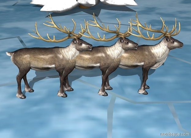 Input text: There are 2 very large [snow] fir trees. 3 reindeer are 15 feet west of them.
