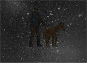 snow backdrop.a man.a dog is 1 feet in front of the man.a clear flat wall is 6 feet left of the dog.it is facing right.the wall is 50 feet long.the wall is 50 feet tall.the sky is snow.the backdrop is shiny.