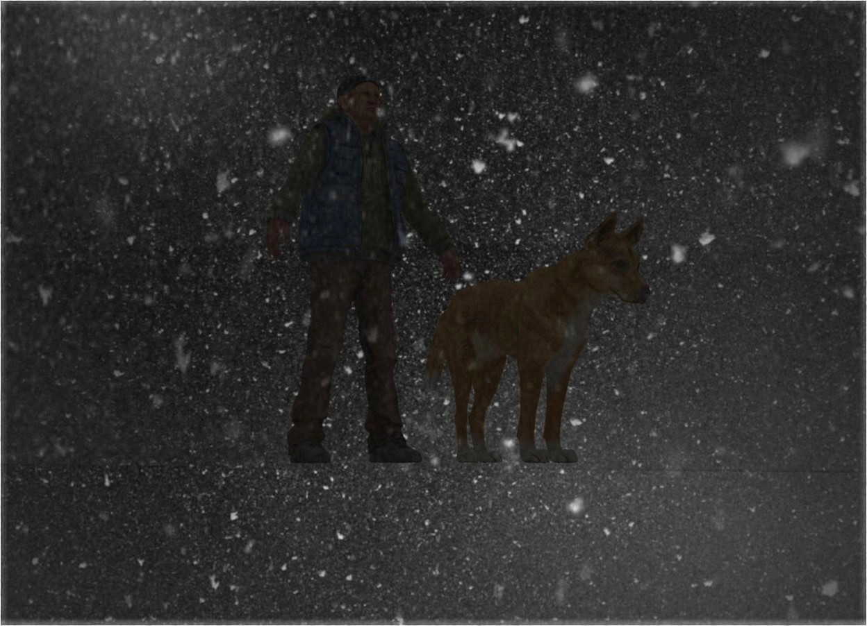 Input text: snow backdrop.a man.a dog is 1 feet in front of the man.a clear flat wall is 6 feet left of the dog.it is facing right.the wall is 50 feet long.the wall is 50 feet tall.the sky is snow.the backdrop is shiny.