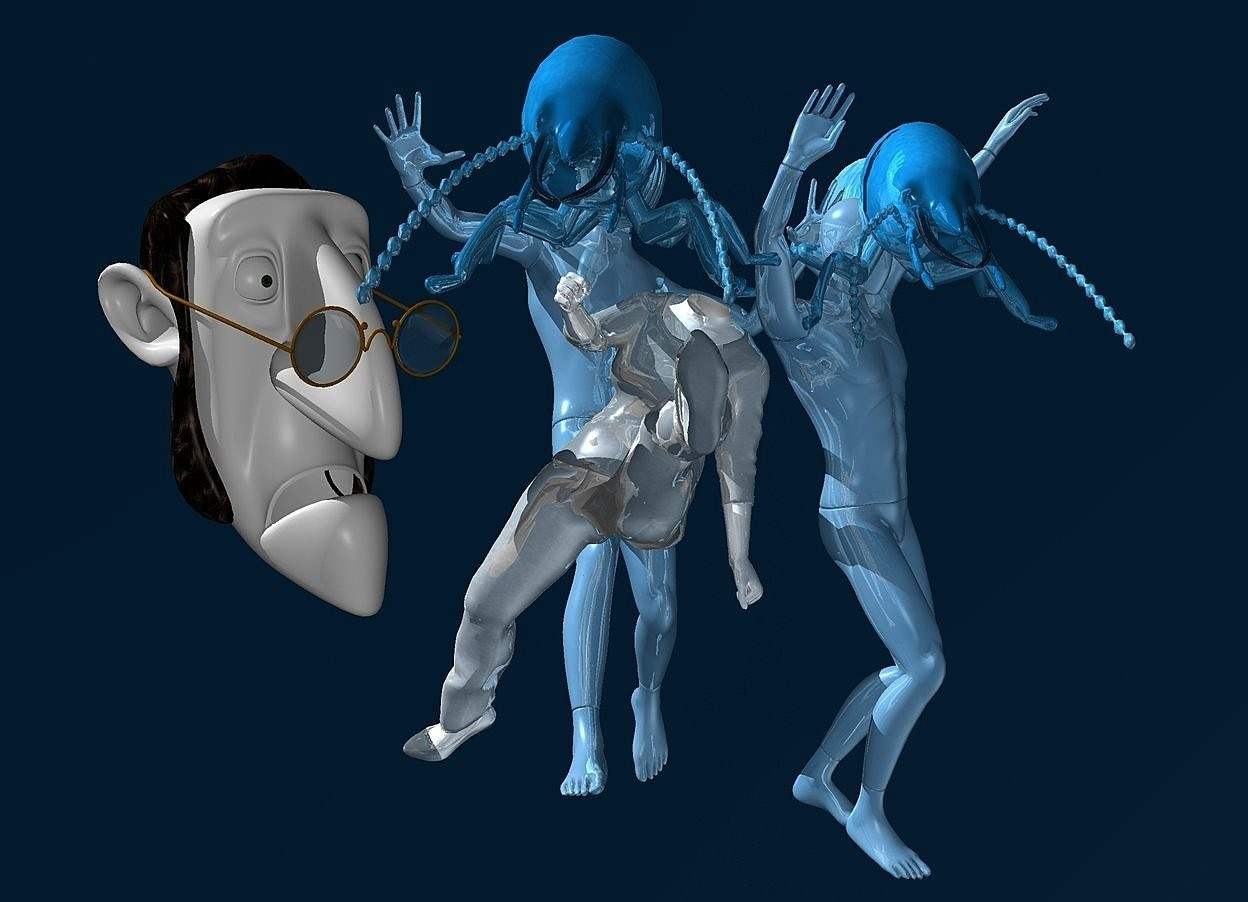 Input text: sky is petrol blue.ground is invisible.a 1st 60 inch tall shiny petrol blue mannequin.a 1st 14 inch tall and 24 inch wide and 80 inch deep shiny igloo blue termite is  -13 inch above the 1st mannequin.sun is white.the 1st termite is -40 inch in front of the 1st mannequin.camera light is gray.a 35 inch tall shiny white human body is in front of the 1st mannequin.the human body is -50 inch above the 1st mannequin.a 25 inch tall white man head is -20 inch above  the human body.the human body leans 25 degrees to left.the man head is -45 inch right of the human body.the man head is facing southeast.a 2nd 60 inch tall shiny petrol blue mannequin is -14 inch right of the 1st mannequin.a 2nd 14 inch tall and 24 inch wide and 80 inch deep shiny igloo blue termite is  -17 inch above the 2nd mannequin.the 2nd termite is facing south.the 2nd mannequin is facing southeast.