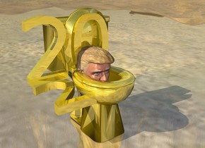 "The shiny ground. The head is -2 feet above the gold toilet bowl. The gold  ""2"" is to the left of the head. It is face up. A gold ""20"" is -9 inches above and -4 inches behind the head. It is -12 inches to the left of the head."