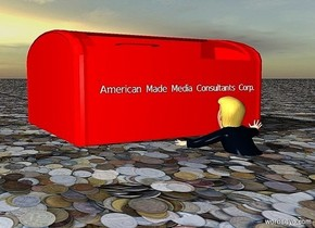 """ground is 100 inch wide [currency].a 60 inch tall and 100 inch wide and 100 inch deep red mailbox -10 inch above the ground.a 4 inch tall """"American Made Media Consultants Corp."""" is in front of the mailbox.the """"American Made Media Consultants Corp."""" is -30 inch above the mailbox.a 30 inch tall donald is 20 inch in front of the mailbox.the donald is facing the mailbox."""