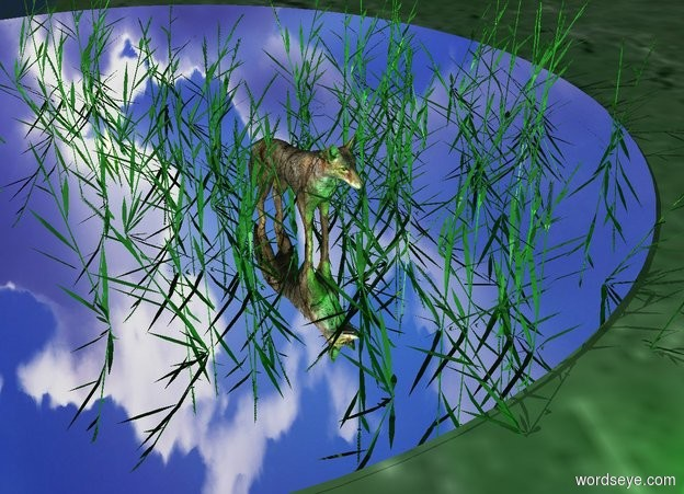 Input text: a 1st 4 feet tall grass.a wolf is -10 inches behind the 1st grass.a 2nd 4 feet tall grass is -15 inches behind the wolf.a 3rd 4 feet tall grass is -25 inches right of the wolf.a 4th 4 feet tall grass is -20 inches left of the wolf.a 5th 4 feet tall grass is -15 inches behind the 2nd grass.a lime light is in front of the 1st grass.a 6th 4 feet tall grass is -15 inches right of the 3rd grass.it is facing east.a 7th 4 feet tall grass is -10 inches right of the 2nd grass.a yellow light is behind the 2nd grass. A silver pond is -9 feet behind the wolf.