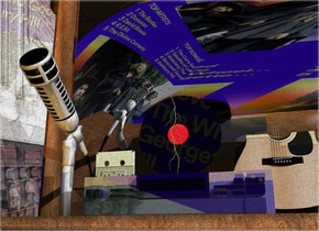 A shiny CD player is -2.6 feet above a dresser. image-15717 Sky is leaning left. A small 20% shiny record is on the CD player. It is leaning 90 degrees to the front. A small 10% shiny khaki cassette is left of and in front of the record. A 20% shiny microphone is 2 inch left of the CD player. Backdrop is shiny. A small guitar is -3 inch right of and behind the CD player. It is leaning 10 degrees to the back. The sky is 50% dark. Azimuth of the sun is 120 degrees. The sun is silver. Camera light is black. A baby blue light is right of and in front of the CD player. An orange light is 3.5 feet in front of the dresser.