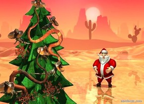 a christmas tree. shiny ground is visible. a 1st .8 foot tall frilled lizard is -1.5 feet above and -3.9 foot in front of the tree. a 2nd .8 foot tall frilled lizard is .3 foot beneath and -1.3 foot right of and -.8 feet in front of the lizard. it faces southeast. a 3rd .8 foot tall frilled lizard faces southwest. it is beneath and -1 foot left of the lizard. a  4th .8 foot tall frilled lizard is beneath and -.5 feet right of the lizard. a 5th .8 foot tall frilled lizard is beneath and -1 foot in front of the lizard. it faces southeast. a 6th .8 foot tall frilled lizard is beneath and -.5 foot left of the lizard. it faces southwest. a 1st [pattern] snake is -1 foot in front of and -4.5 feet above the tree. it leans 90 degrees to the front. a 2nd [pattern] snake faces back. it is -1 foot beneath and -1 foot left of the snake. it leans 90 degrees to the front. a 1st  1 foot tall cactus is -.1 foot beneath the 3rd lizard.a 2nd 1 foot tall cactus is -1 foot beneath the 2nd snake. a 3rd 1 foot tall cactus is beneath and -.3 feet in front of the 5th lizard.  a santa is 4 feet behind and 7 feet right of the tree. santa faces the tree. backdrop is shiny desert. it is noon. sun is linen. camera light is black. a lemon chiffon light is in front of and -4 feet above the tree.