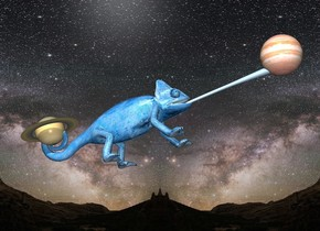 the very large steel blue chameleon is in the universe. it is leaning back.   the saturn is -11 inches above and -5 inches behind the chameleon. it is 3 inches tall. it is leaning back. the jupiter is -2 inches in front and -4 inches above the chameleon. it is 4 inches tall.