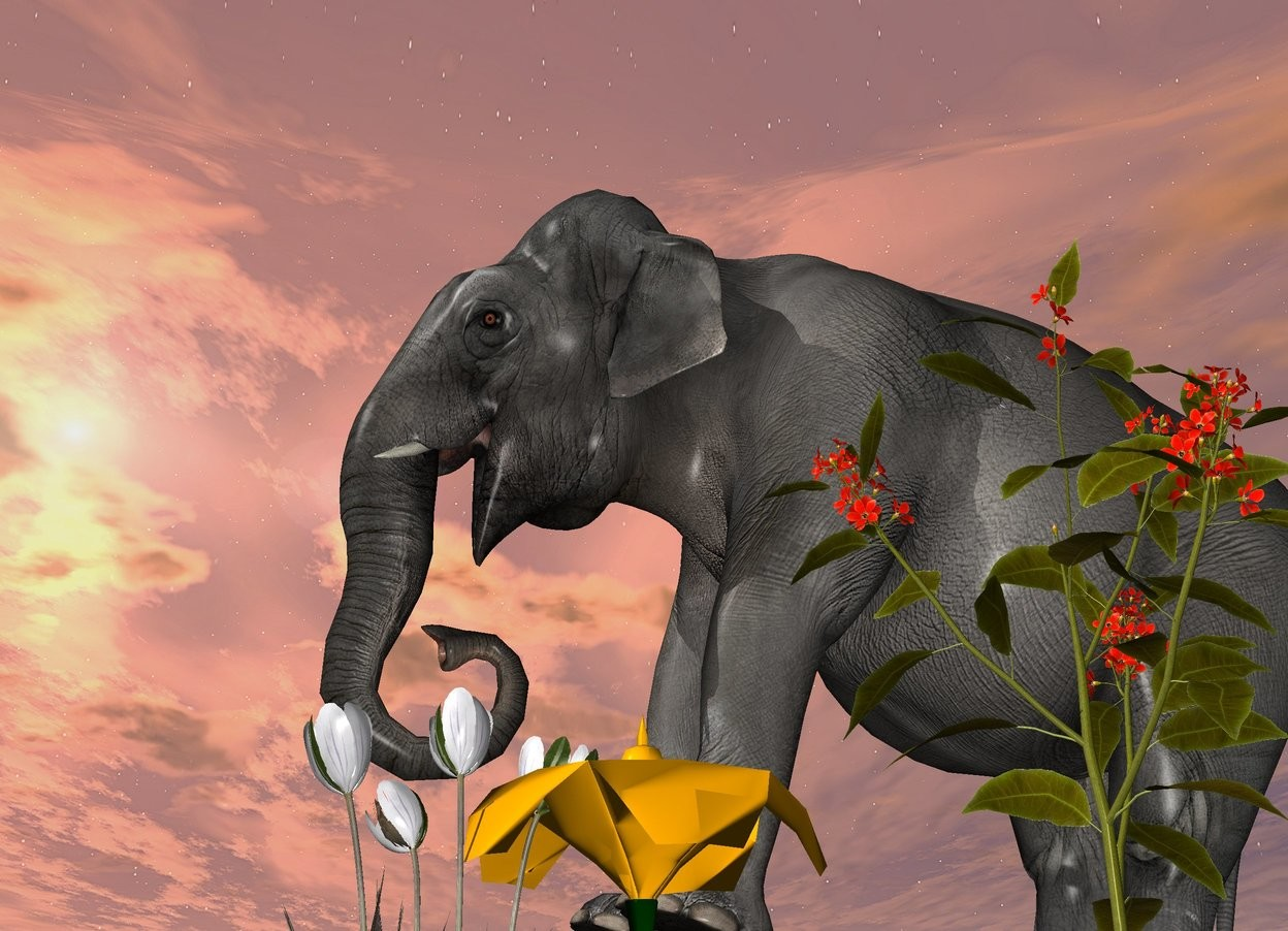Input text: 7 flowers. a tiny elephant is 1 feet behind the flowers. it is facing left. it is leaning back.