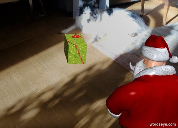 Input text: The  image  backdrop. A santa. Shadow plane is invisible. A very big present is 30 feet in front of and left of santa. The present leans to the back.