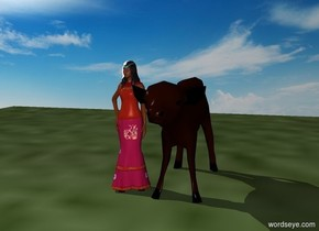 The princess stands on a hill. A large cow stands in front of her. There is a tiny farm.