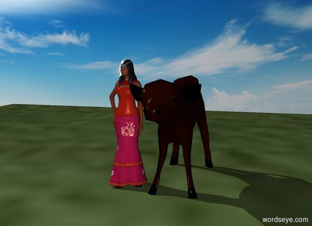 Input text: The princess stands on a hill. A large cow stands in front of her. There is a tiny farm.