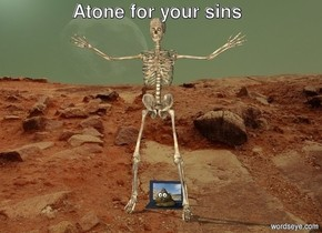 A skeleton sits at a computer. The skeleton is on mars. There is poop on the computer.