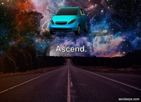 space background. There is a tiny car.