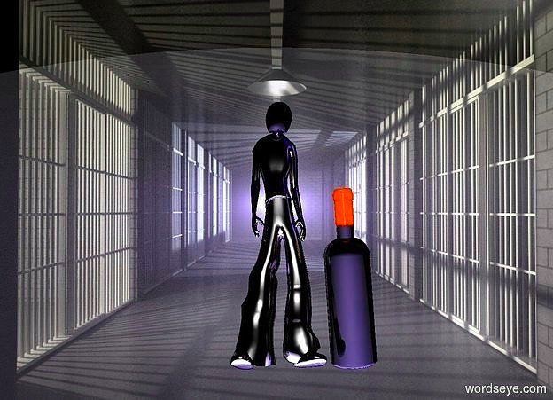 Input text: backdrop is shiny  [jl].a 70 inch tall shiny black man is 150 inch above the ground.six white lights are 100 inch behind the man.the  head of the man is shiny black.sky is black.the white lights are -5 inch above the man.six blue lights are 10 inch above the man.ground is visible.the man is facing north.a 40 inch tall bottle is left of the man.the bottle leans 25 degrees to back.