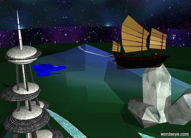 Input text: The sky is space. The ground is normal. The black boat is 500 feet above the ground. The tiny blue spaceship is 20 feet to the right of the boat. The tiny spaceship is facing forward. The black boat is facing left.
