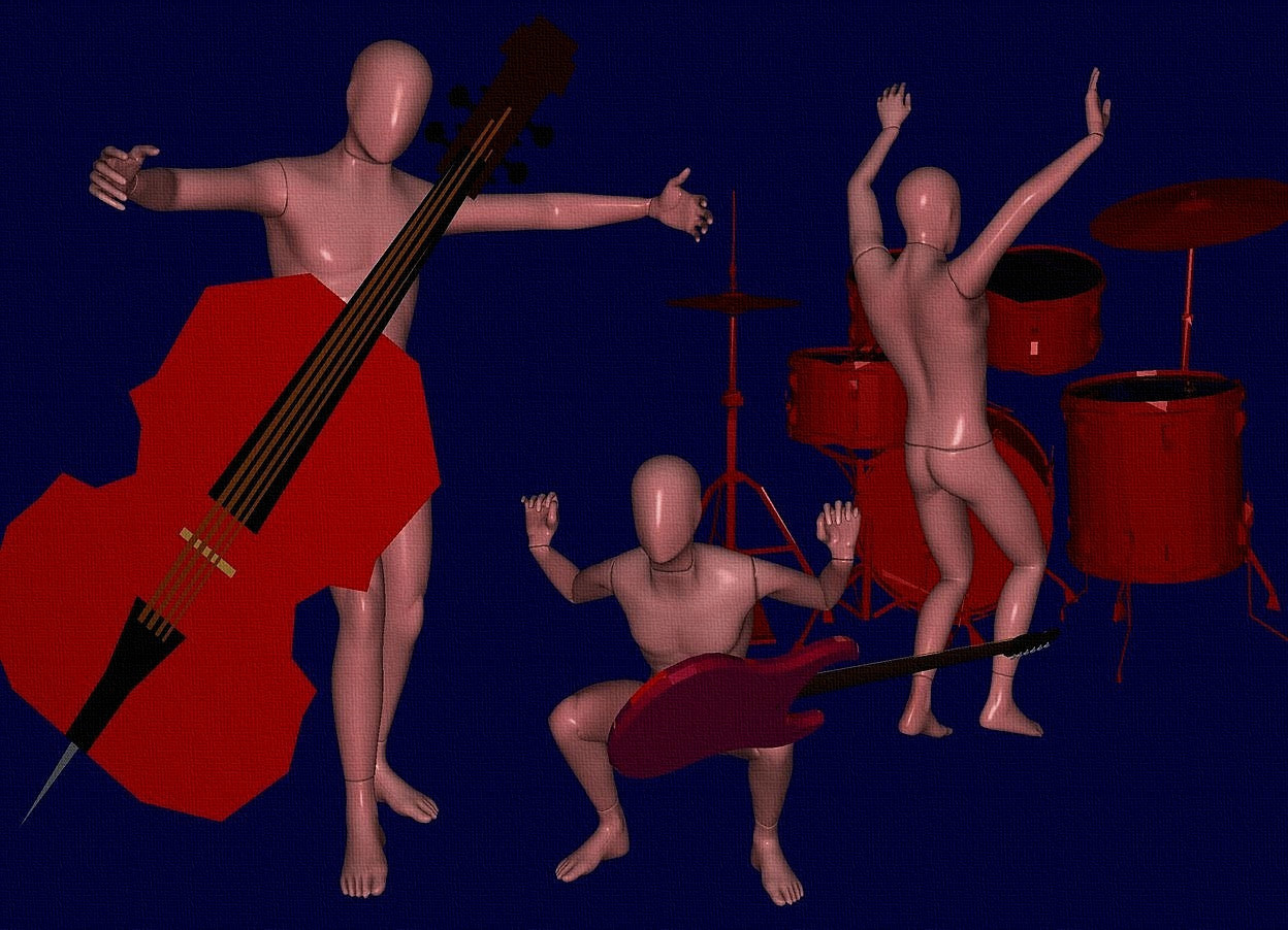 Input text: sky is 80% dim  blue.ground is invisible. a 60 inch tall maroon drum kit.sun is black..a 1st 70 inch tall maroon mannequin is in front of the drum kit.the 1st mannequin is facing northeast.a 2nd 95 inch tall maroon mannequin is 5  inch left of the 1st mannequin.the 2nd mannequin is -90 inch above the 1st mannequin.a 100 inch tall  70% dim red flat double bass is -5 inch in front of the 2nd mannequin.the double bass leans 37 degrees to left.the 2nd mannequin is facing southeast.a 3rd 50 inch tall maroon mannequin is -25 inch right of the 2nd mannequin.a 17 inch tall shiny maroon guitar is -25 inch above the 3rd mannequin.the guitar is -10 inch in front of the 3rd mannequin.the guitar leans 40 degrees to back.the guitar is facing northwest.the guitar is -20 inch right of the 3rd mannequin.