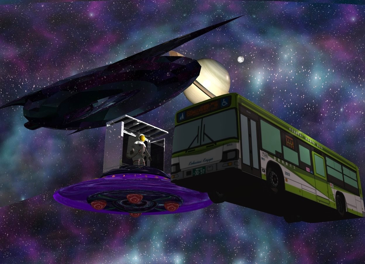 Input text: Space backdrop is 75% shiny and 50% dark. Sky is 4200 feet wide space. A shiny grey bus stop is 1 foot in a shiny spaceship. An astronaut is -3 feet in front of the bus stop. A bus is in front of and -15 feet right of the spaceship. It is facing west. Azimuth of the sun is 110 degrees. A large black 50% shiny spaceship is 52 feet above and 30 feet right of and 8 feet behind the spaceship. Camera light is black. 2 lights are above and in front of the bus. Altitude of the sun is 30 degrees. A dim light is 2 feet left of the bus stop. A huge 90% dark planet is -10 feet above and 15 feet right of the spaceship. It is leaning 55 degrees to the front. A huge moon is 8 feet right of and above the planet. Sun is pink.