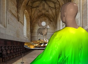 the rainbow monk is in the church. the platter is in front of the monk. it is 4 feet above the ground. The tiny sheep is on the platter. the platter is facing back.