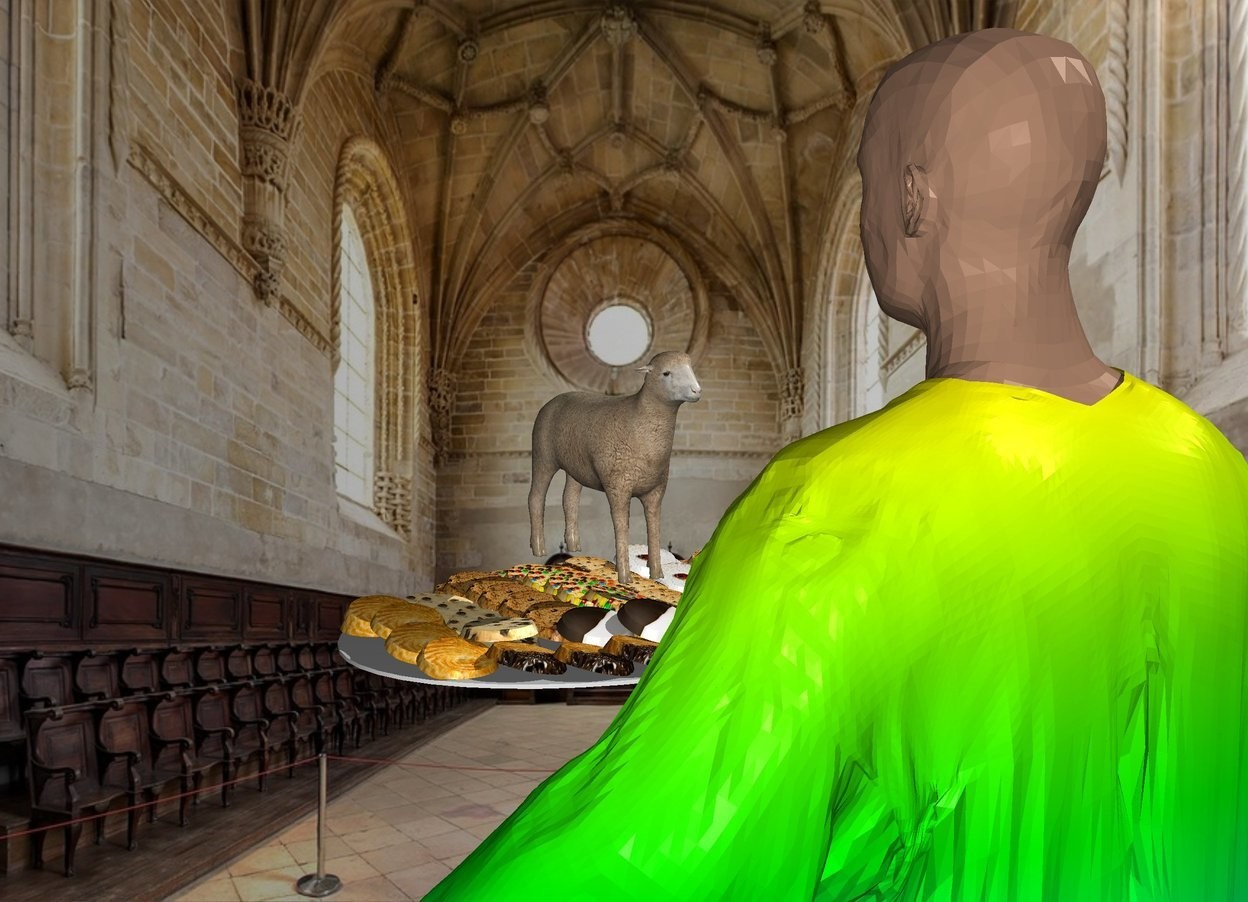 Input text: the rainbow monk is in the church. the platter is in front of the monk. it is 4 feet above the ground. The tiny sheep is on the platter. the platter is facing back.