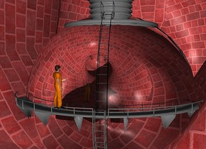 a 300 inch tall red   brick cat.backdrop is shiny gray.a 160 inch tall silver water tower is -290 inch above the cat.sun is gray.a 9 inch tall prisoner is -67 inch above the water tower.the prisoner is in front of the water tower.the prisoner is facing northeast.