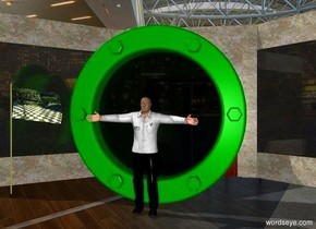 The green portal is in front of the store.  The portal is 10 feet tall .  The man is 1 foot in front of the portal .  The human body is 7 feet tall . The man head has black hair.  The checkerboard flag is 1 foot left of the portal .