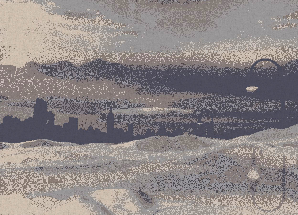 Input text: a shiny [city] backdrop.ground is visible and shiny [snow].