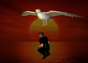 a  20 inch tall  orange seagull.two 20% dim orange lights are 10 inch in front of the seagull.a [sk] backdrop.sun is orange.the seagull leans 10 degrees to front.a 30 inch tall black man is -60 inch above the seagull.the man is facing west.