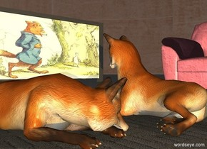 a 1st fox is -.1 foot above a carpet. a television is on a .5 foot tall table. the table is 1 foot in front of the carpet. the television faces back. the television's display screen is dark [fox]. a 2nd fox is -.2 feet right of and -2 feet in front of the fox. a marble is 2 feet behind the 1st fox. the 2nd fox faces the marble.  a [texture] chair is left of and -2 feet in front of the carpet. it faces the carpet. sky is 4000 foot tall [wall]. sun is dim. an amber light is 10 feet behind and 5 feet right of the fox.