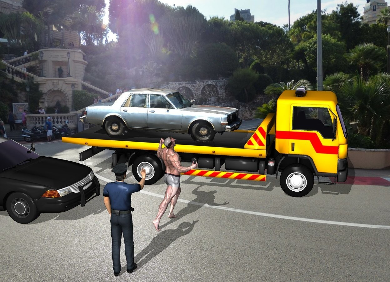 Input text: The car is on the wrecker. The racetrack backdrop. The man is 4 feet to the left of the wrecker. The man is facing southeast. A police car is 3 feet behind the man. a police officer is 3 feet to the left of the man. The police officer is facing the man.