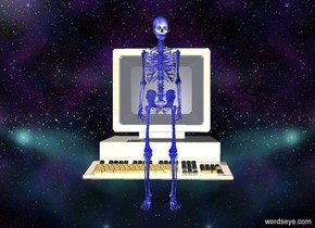 The space backdrop.  The skeleton is on the ground .  The skeleton has a computer texture.  The skeleton is facing front .  The skeleton is blue .   The very large computer is 1 meters behind the skeleton .  The computer is shiny.  The computer is cream . The light source is 1 feet behind the computer