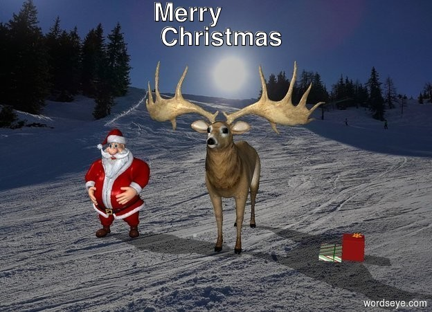 Input text: a santa close with reindeer on snow.   with presents