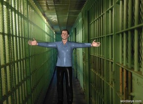 a free man. his shirt is denim. backdrop is prison. shadow plane is invisible.