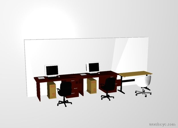 Input text: 1st desk is in front of the wall. 2nd desk is left of the 1st desk. 3rd desk is right of the 1st desk. a swivel chair is in front of the 3rd desk. it faces back. backdrop is white