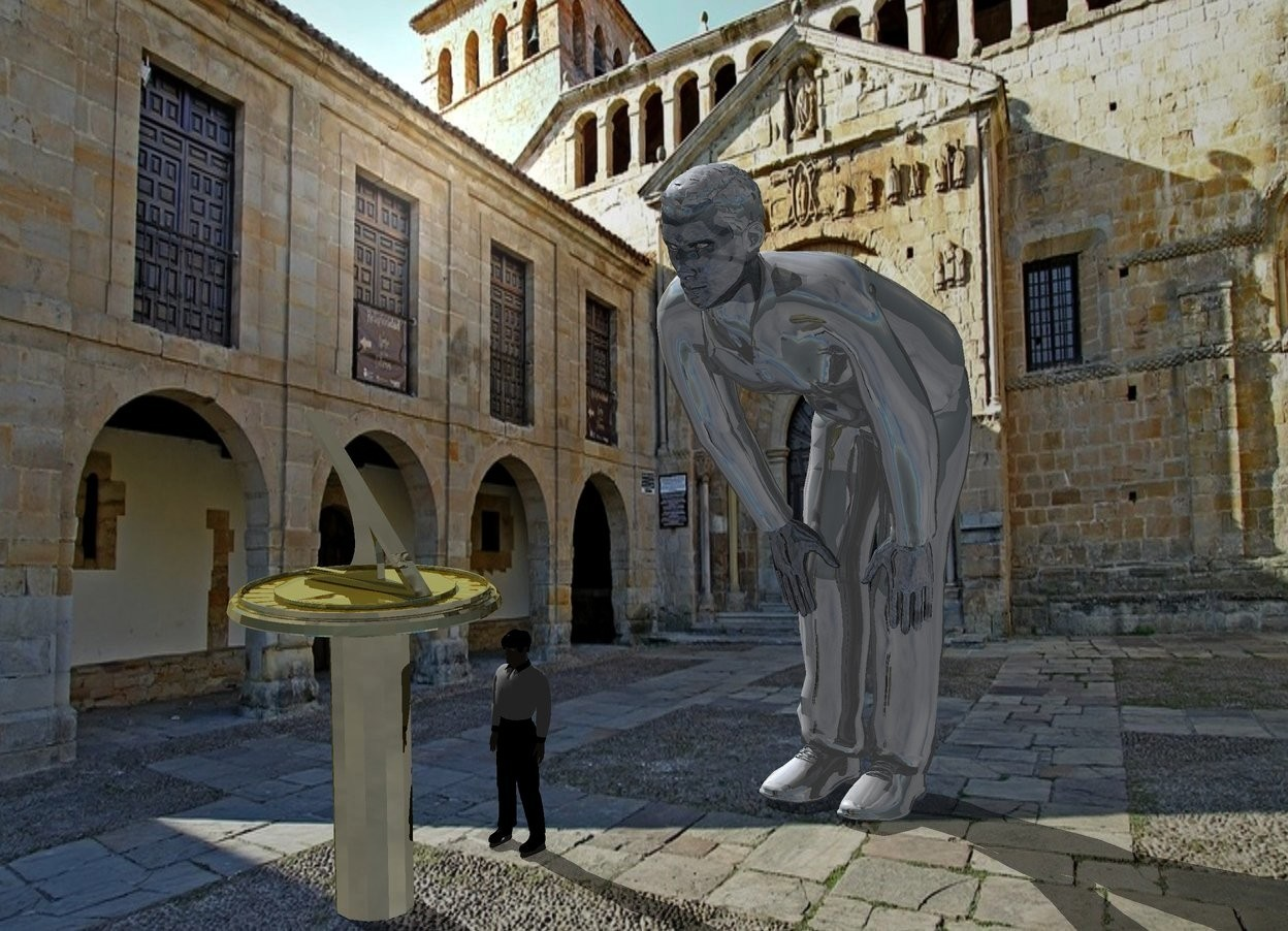Input text: A 30% shiny man is 6 feet high wordseye. Camera light is black. A tiny man is left of and in front of the man. He is -0.2 inch above the ground. A gold sundial is 4 inch in front of the man.