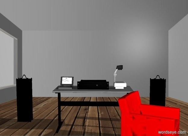 Input text: There is a room. There is a gray table in the center of the room. There is a black amplifier on the table. There is a laptop 4 inches to the left of the amplifier. There is a white projector 4 inches to the right of the amplifier. The projector is facing right. It is morning. there is a red chair in front and -14 inches to the right of the table. The chair is facing right. There is a small white sneaker floating -3 inches above the laptop. The sneaker is facing left. There is a tall small black amplifier behind and 2 feet to the left of the table. There is a tall small black amplifier behind and 1.5 feet to the right of the table.