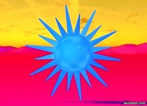 ground is fuchsia. sun is tangerine. a big flat dodger blue sun symbol. backdrop is invisible. ground is visible.  camera light is dodger blue.