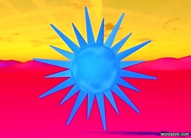 Input text: ground is fuchsia. sun is tangerine. a big flat dodger blue sun symbol. backdrop is invisible. ground is visible.  camera light is dodger blue.