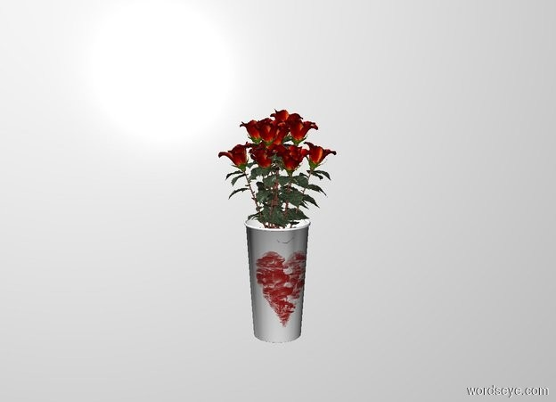 Input text: a 1st rose. a 2nd rose is -.5 foot right of the rose. it leans 10 degrees to the left. a 3rd rose is -.5 foot left of the 1st rose. it leans 10 degrees to the right. a 4th rose is -.5 foot in front of the 1st rose. it leans 10 degrees to the front. a 5th rose is -.5 foot behind the 1st rose. it leans 10 degrees to the back. a .8 foot tall and .45 foot wide and .45 foot deep [love] cup is -.35 feet beneath the 1st rose. a 6th rose is -.6 feet in front of and -.6 feet right of and -.95 feet beneath the 1st rose. it faces southeast. it leans to the front. a 7th rose is -.6 feet in front of and -.6 feet left of and -.95 feet beneath the 1st rose. it faces southwest. it leans to the front. a 8th rose is -.6 feet in front of and -.95 feet beneath the 1st rose. it leans to the front. a 10th rose is -.6 feet behind and -.6 feet right of and -.95 feet beneath the 1st rose. it faces northeast. it leans to the front. a 11th rose is -.6 feet behind and -.6 feet left of and -.95 feet beneath the 1st rose. it faces northwest. it leans to the front. a 12th rose is -.6 feet behind and -.95 feet above the 1st rose. it leans to the back.  the cup faces southwest.   white backdrop.