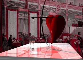 A bow is on a shiny white table. A red light is left of and above the bow. Pink room backdrop. A heart is left of the bow. It is facing southeast. The sun is grey. Camera light is black. A light is in front of the heart. A glass is 6 inch right of and -4 inch in front of the bow. A glass is right of and behind the glass.
