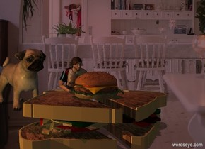 A man is eating an enormous bread sandwich in a kitchen. The shirt of the man is [Texas]. Camera light is black. An amber light is above and 4 feet left of the sandwich. The sun is brown. Azimuth of the sun is 220 degrees. Altitude of the sun is 70 degrees. A huge burger is on the sandwich. A 4 feet high dog is left of and behind the man. It is facing the burger.