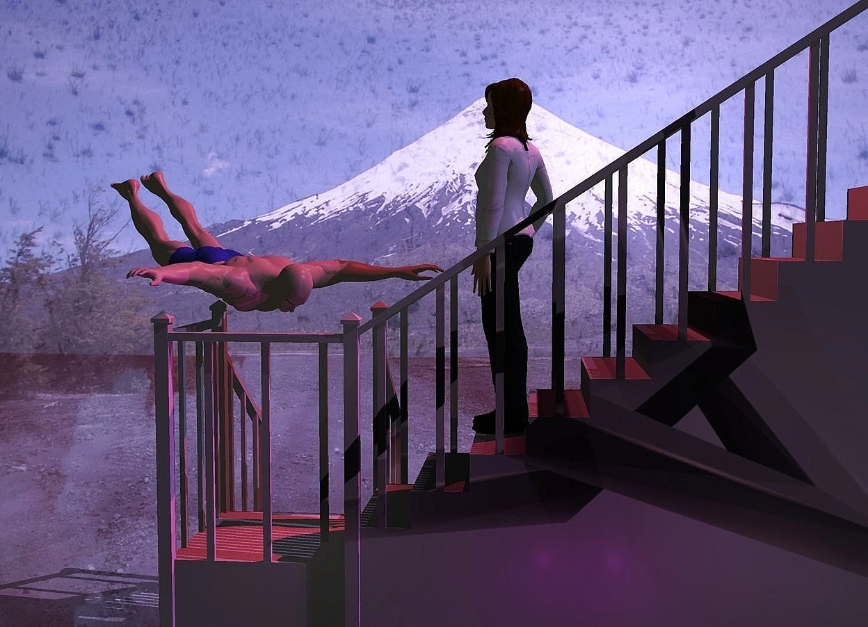 Input text: 75% dark [Abstract] stair. Camera light is black. Mauve sun. A crimson light is above the stair. 2 purple lights are behind and -10 feet above the stair. A man is -4 feet right of and -6 feet above the stair. He is upside down. He is facing southeast. A woman is -7.9 feet above and -5.7 feet right of and -3 feet behind the stair. She is facing the man. Shiny backdrop. Red cloud sky.