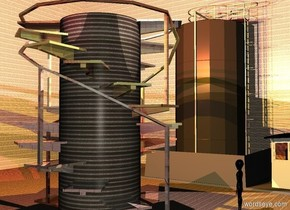 a 1st 10 foot tall and 4 foot wide and 4 foot deep cylinder. the cylinder is 2.5 foot tall [metal]. a 10 foot tall and 8 foot wide and 8 feet deep shiny [abstract] staircase is -10 feet above the cylinder. a 2nd 10 foot tall and 8 foot wide and 8 foot deep shiny [abstract] staircase is -10 feet above the staircase. it faces back. it is night. a very gigantic  [metal] cube is -10 feet above the staircase. a peach light is above and in front of the cylinder. a pink light is above and behind the cylinder. a crimson light is above and right of the cylinder. a tangerine light is above and left of the cylinder. a 15 foot tall factory is 10 feet left of the cylinder. it faces the cylinder. a 1st 3 foot tall black alien is 3 foot behind and 3 foot left of the cylinder.
