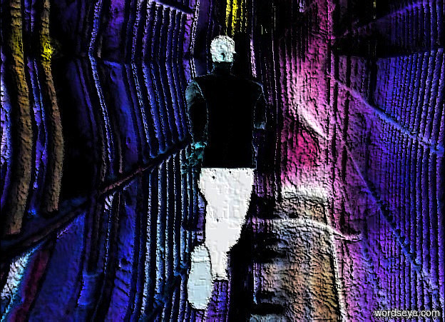 Input text: a dull prison head. a .1 foot tall man  is -.5 feet above the head. camera light is sienna. a .1 foot tall linen light is in front of and above the man.
