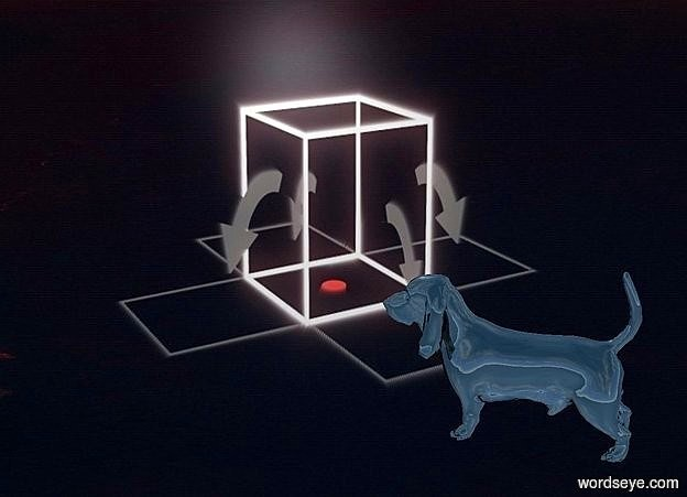 Input text: a [wp] backdrop.camera light is black.a 4 inch tall shiny black dog.the dog is facing southwest.