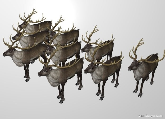 Input text: There are 2 reindeer. 3 reindeer are north of them. 4 reindeer are north of them. THE WHITE BACKDROP.