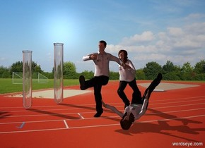 A jumping scientist is next to a falling scientist. Track backdrop. A running scientist is behind the scientist. A 6 feet high test tube is 6 feet left of the scientist. A 5 feet high test tube is 3 feet in front of the test tube. Camera light is brown. A light is above and 4 feet left of and 3 feet in front of the scientist.