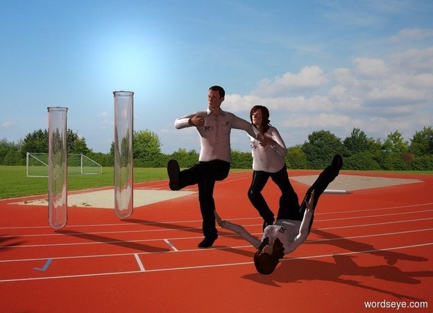 Input text: A jumping scientist is next to a falling scientist. Track backdrop. A running scientist is behind the scientist. A 6 feet high test tube is 6 feet left of the scientist. A 5 feet high test tube is 3 feet in front of the test tube. Camera light is brown. A light is above and 4 feet left of and 3 feet in front of the scientist.