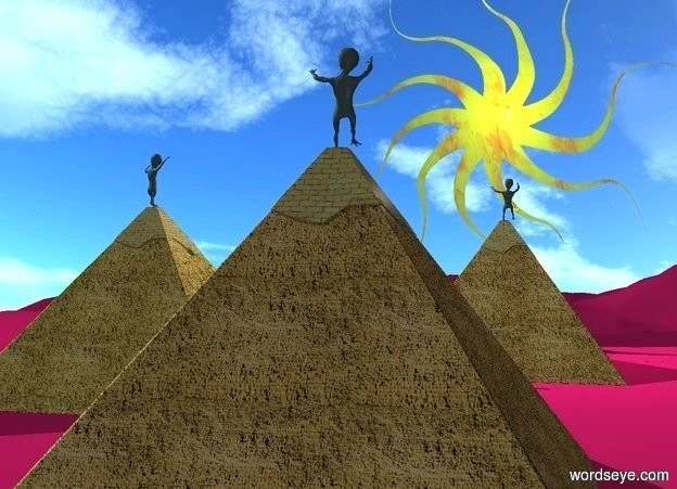 Input text: a tangerine pyramid. ground is pink plum.  a goldenrod pyramid is 10 feet behind and 1 foot left of the pyramid. a orange pyramid is 5 feet behind and 10 feet right of the pyramid. a gigantic flat shiny  [fire] sun symbol is behind and -20 feet above the pyramid. a 10 foot tall light is in front of and -40 feet above the sun symbol. ground is 50 feet tall. sky leans 20 degrees to the back.  a 1st big alien is on the goldenrod pyramid. the alien faces the sun symbol. a 2nd big alien is on the orange pyramid. the alien faces the sun symbol. a 3rd big alien is on the tangerine pyramid. the alien faces the sun symbol.  camera light is dim. sun is sea mist blue.