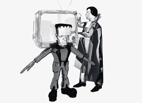 a 100 inch tall shiny black frankenstein.the human head of frankenstein is clear white.sky is white.ground is invisible.the hand of frankenstein is shiny black.the frankenstein is facing southeast.a 120 inch tall clear white  television is -30 inch above the frankenstein.the television is -115 inch in front of the frankenstein.the television is facing southeast.a 160 inch tall clear white dracula is -200 inch in front of the frankenstein.the dracula is facing southwest.the human head of dracula is clear white.the dracula is -130 inch above the frankenstein.